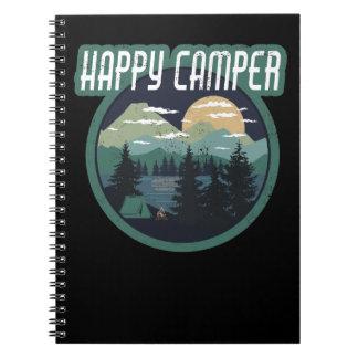 happy camper round camping distressed design notebook