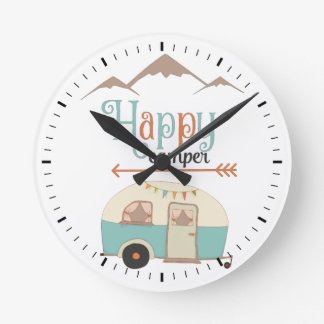 HAPPY CAMPER ROUND CLOCK