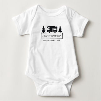 Happy Camper RV Motorhome Black and White Baby Bodysuit