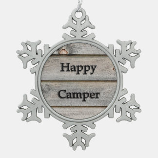 Happy Camper Snowflake Pewter Christmas Ornament