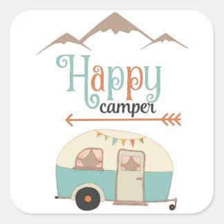 HAPPY CAMPER SQUARE STICKER