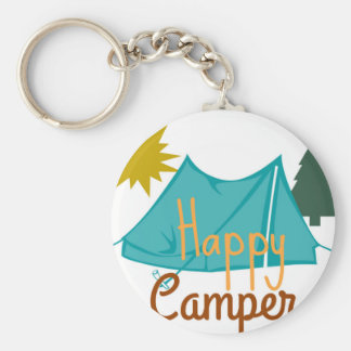 Happy Camper Tent Outdoors Basic Round Button Keychain