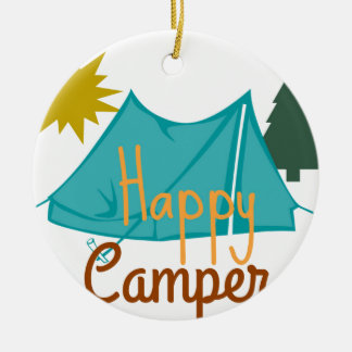 Happy Camper Tent Outdoors Round Ceramic Ornament
