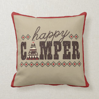 """Happy Camper"" Throw Pillow"