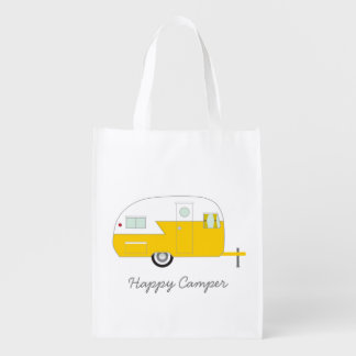 Happy Camper Tote - Yellow Grocery Bag