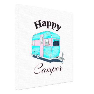 Happy Camper Trailer Camping Canvas Print