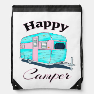Happy Camper Trailer Camping Drawstring Bag
