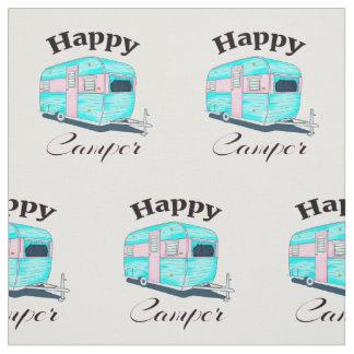Happy Camper Trailer Camping Fabric