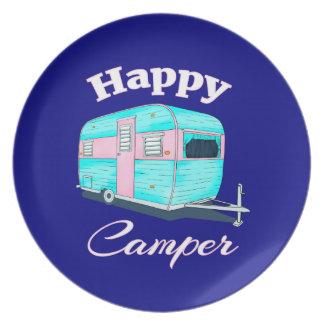 Happy Camper Trailer Camping Plate