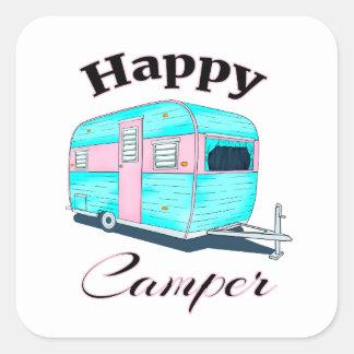Happy Camper Trailer Camping Square Sticker