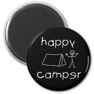 Happy Camper (wht) 2 Inch Round Magnet