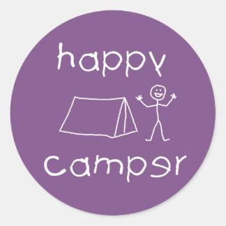 Happy Camper (wht) Classic Round Sticker