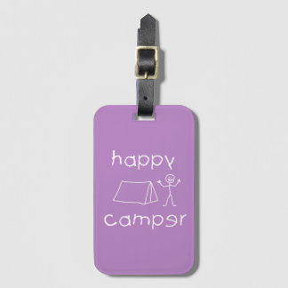 Happy Camper (wht) Luggage Tag