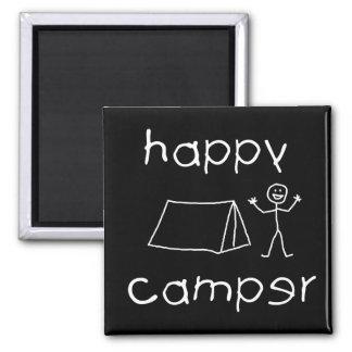 Happy Camper (wht) Square Magnet