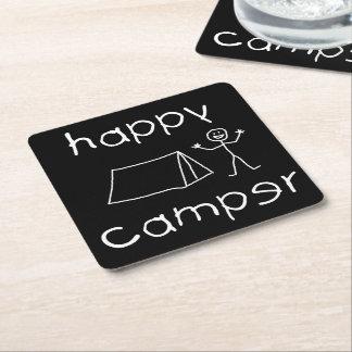 Happy Camper (wht) Square Paper Coaster