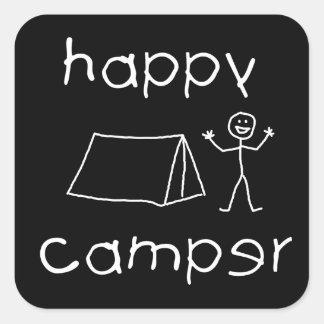Happy Camper (wht) Square Sticker
