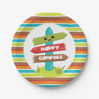 Happy Campers cute sign party plate