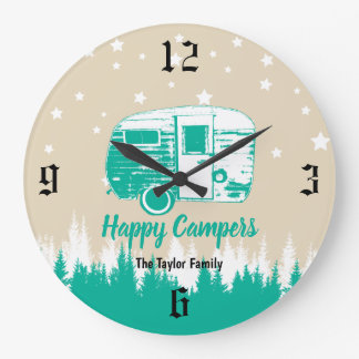 Happy Campers Family Name Stars & Forest Large Clock