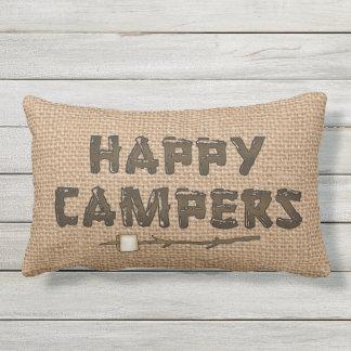 Happy Campers lumbar faux burlap pillow