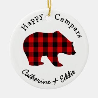 Happy Campers Names Rustic Buffalo Plaid Bear Ceramic Ornament