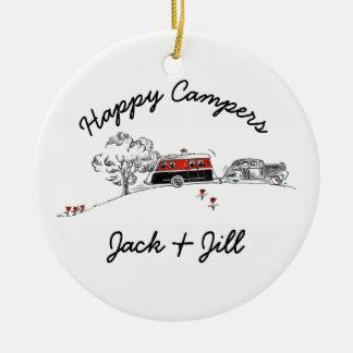 Happy Campers Personalized | Vintage RV Camper Car Ceramic Ornament