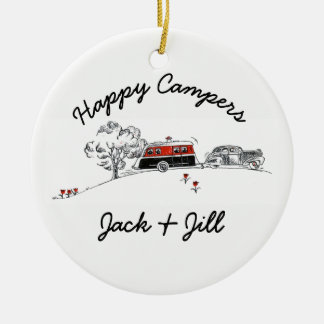 Happy Campers Personalized | Vintage RV Camper Car Round Ceramic Ornament