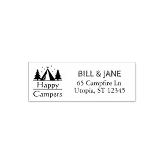 Happy Campers Retired Couple | Monogrammed Address Self-inking Stamp