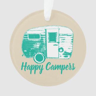 Happy Campers Retro Camping Trailer Camping Fun Ornament