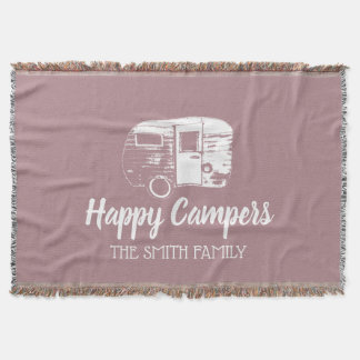 Happy Campers Rustic Camping Trailer Family Name Throw Blanket