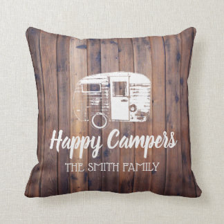 Happy Campers Rustic Camping Trailer Family Name Throw Pillow