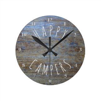 Happy Campers Rustic Wood | Camping Retirement Fun Clocks