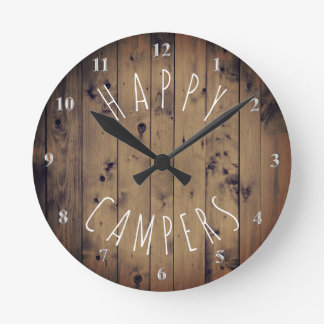 Happy Campers Rustic Wood | Retirement RV Camping Round Clock