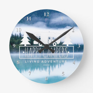 Happy Campers RV Camping | Lake House Pine Trees Round Clock