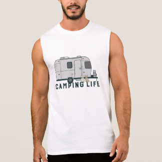 Happy camping life with cute Frenchies Sleeveless Shirt