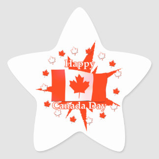 Happy Canada Day Flag Design Star Sticker