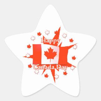Happy Canada Day Flag Design Star Sticker
