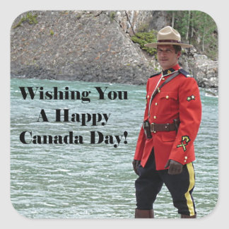 Happy Canada Day Mountie Photo Square Sticker