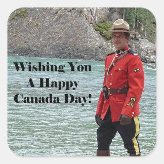 Happy Canada Day Mountie Photo Stickers