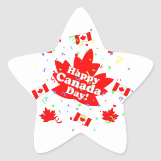 Happy Canada Day Party Star Sticker