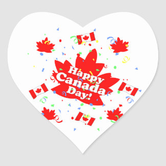 Happy Canada Day Party Heart Sticker