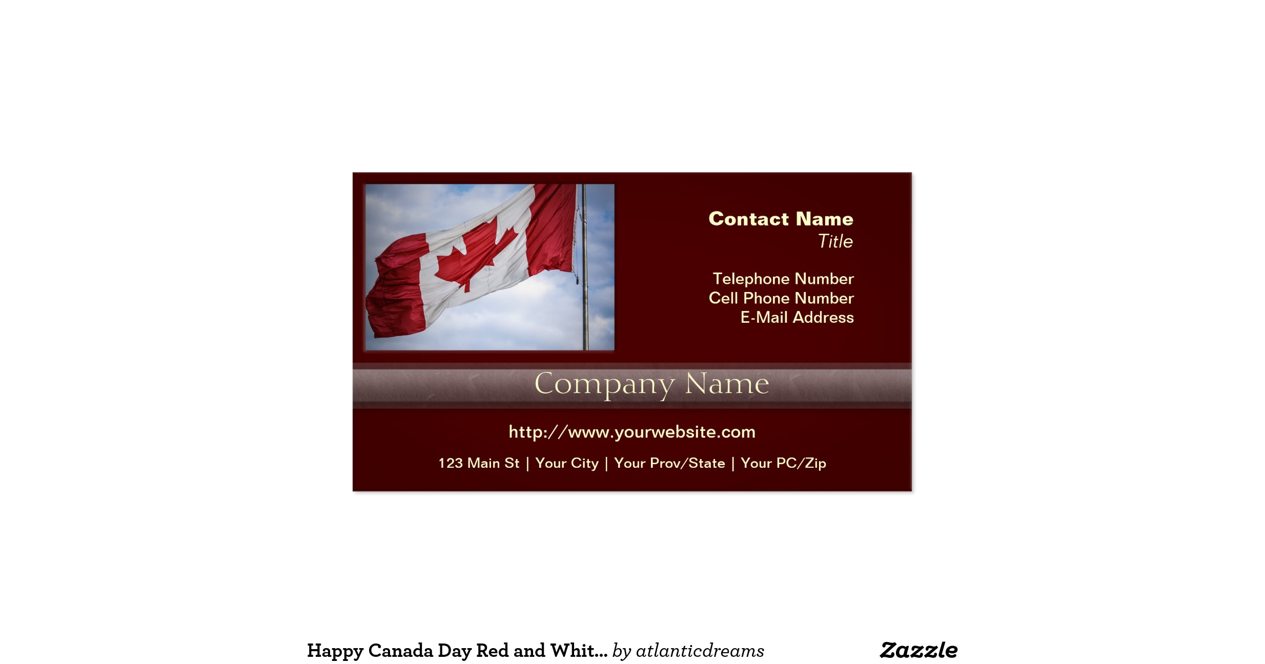 Happy canada day red and white canadian flag pack of for Business cards canada