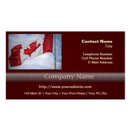 Happy canada day red and white canadian flag business card for Business cards canada