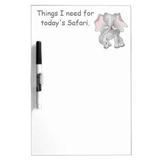 Happy cartoon African elephant Dry Erase White Board