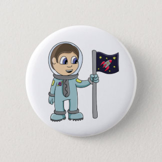 Happy Cartoon Astronaut Holding Rocket Flag 2 Inch Round Button