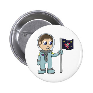 Happy Cartoon Astronaut Holding Rocket Flag 2 Inch Round Button
