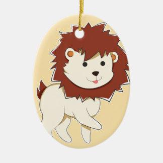 Happy Cartoon Baby Lion Ceramic Ornament