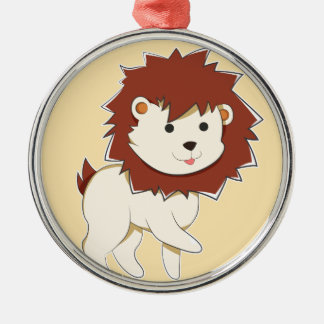 Happy Cartoon Baby Lion Metal Ornament