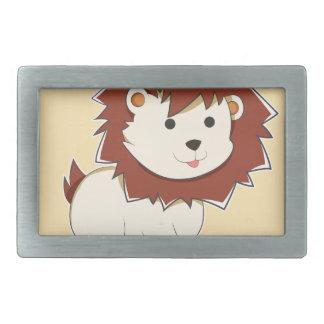 Happy Cartoon Baby Lion Rectangular Belt Buckles
