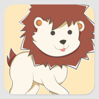 Happy Cartoon Baby Lion Square Sticker