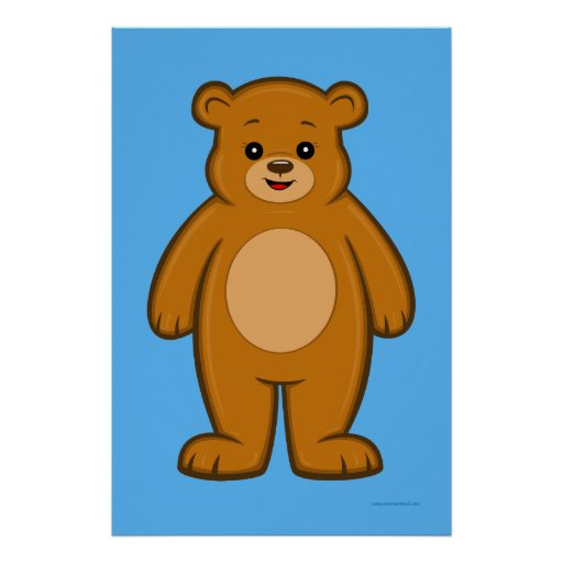 Happy Cartoon Bear Poster